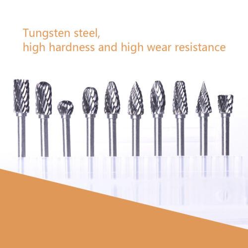 "10pcs 3mm 1//8/"" Tungsten Carbide Burr Bur Rotary Cutter File Bit Die Grinder CNC"