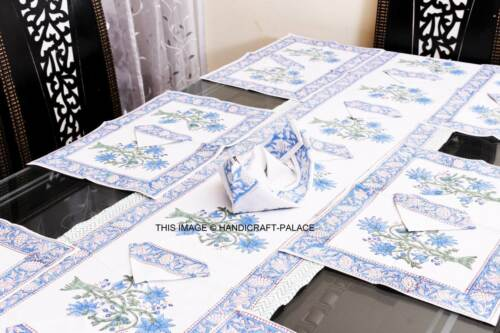 Anokhi Handworks Block Printed Table Runner Blue and White With Place Mat Set