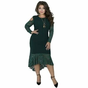 Details about Plus Size Lace Women Party Long Sleeve Bodycon Bandage Dress