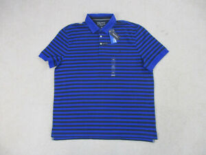 NEW-Nautica-Polo-Shirt-Adult-2XL-XXL-Blue-Black-Sailing-Striped-Rugby-Casual-Men
