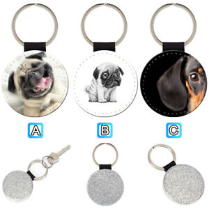 Smiling-Pug-Dachshund-Dog-Puppy-Leather-Glitter-Key-Chain-Keyring-Car-Ring-Silve