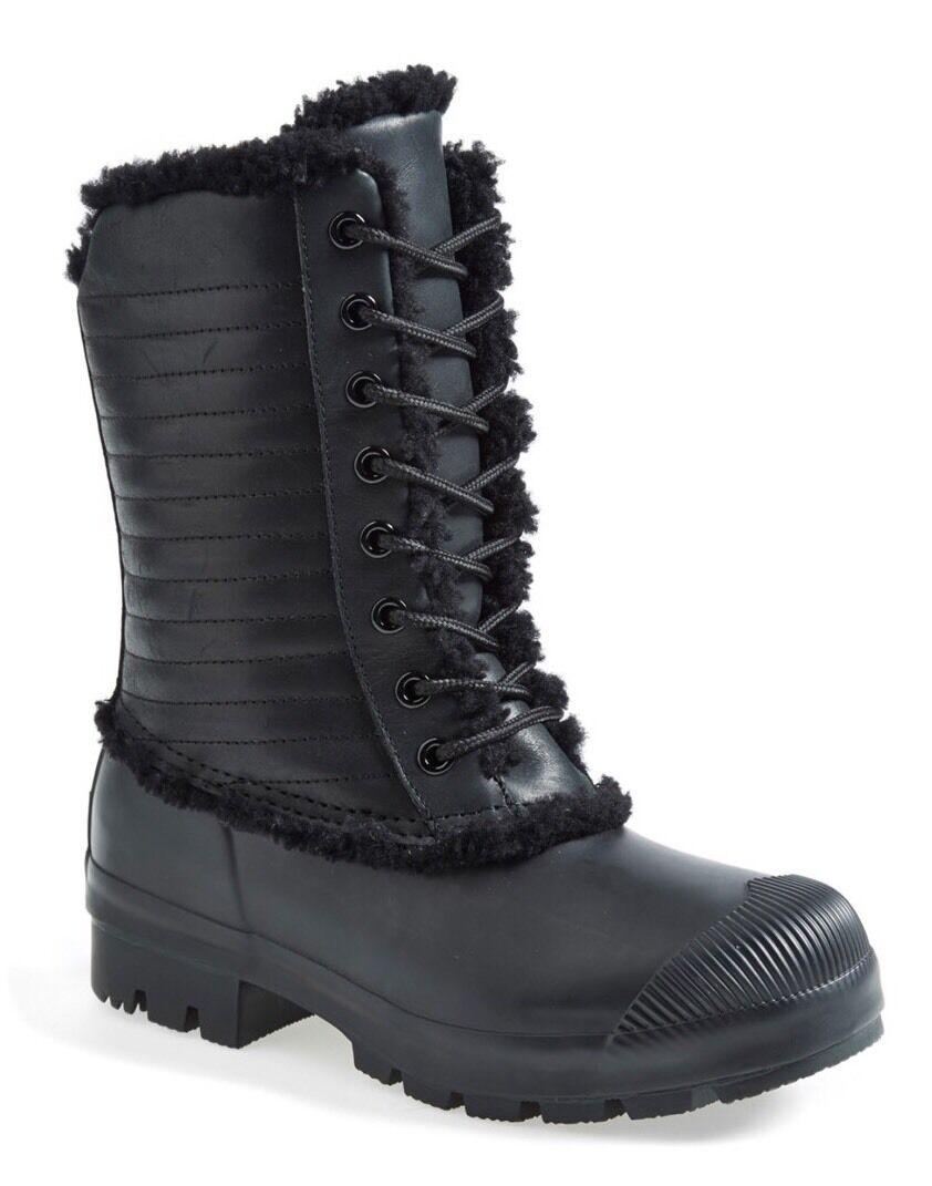 Hunter Original Genuine Pac Shearling Booties Rain Boots Black Lace Up Sz 6 New