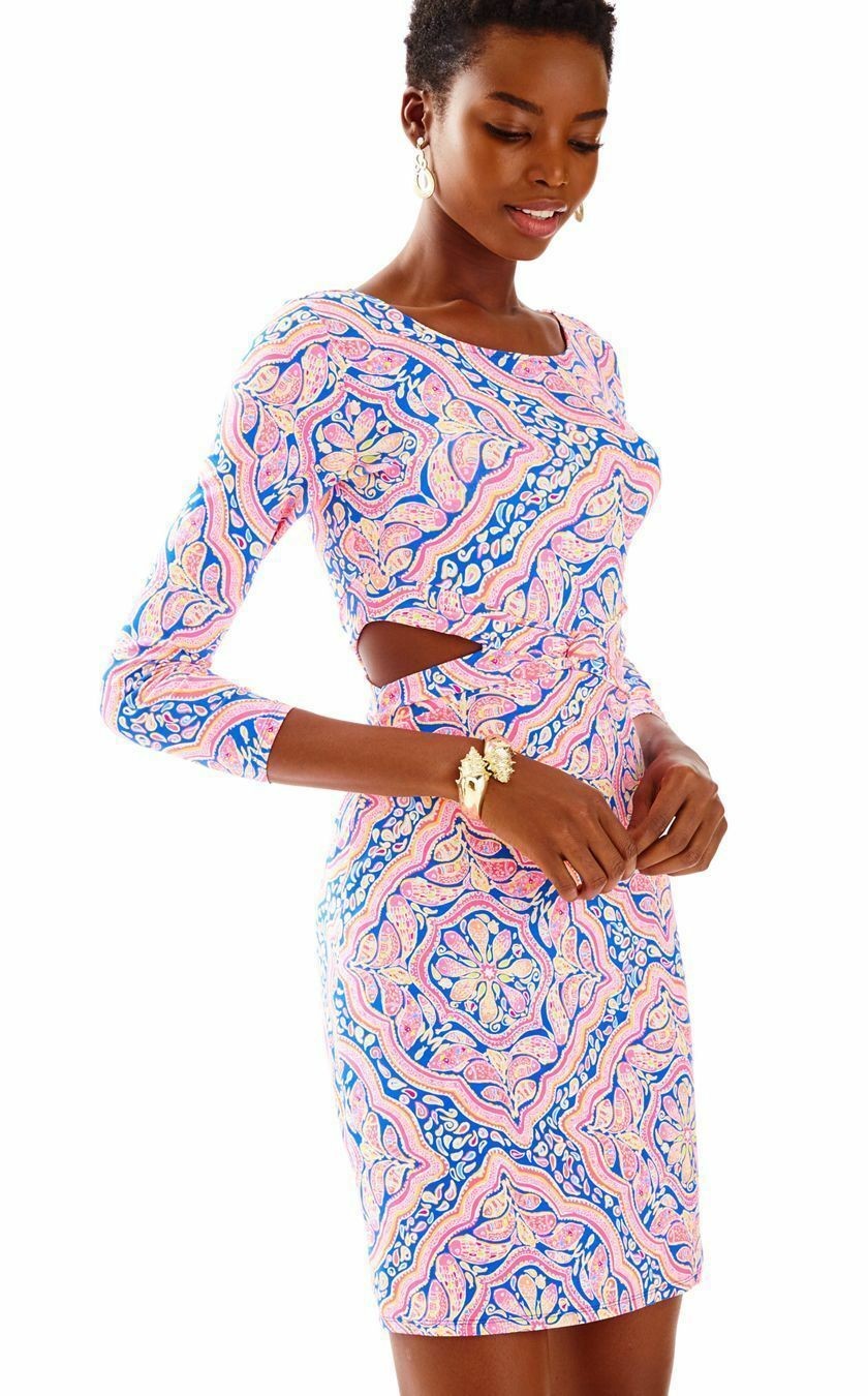 NWT LILLY PULITZER PIPPA CUT-OUT CUT-OUT CUT-OUT DRESS Multi Cant Resist Large 6642ee