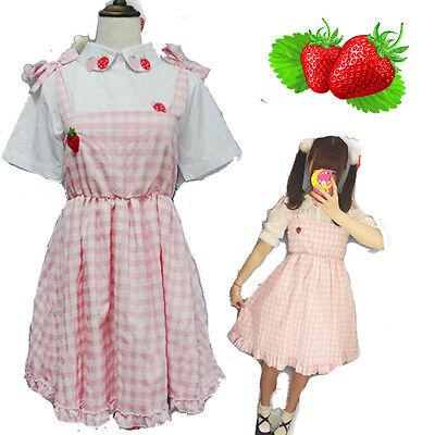 kawaii Cute Strawberry Girl Lolita Blouse Shirt  Harajuku Tops + Suspender Skirt