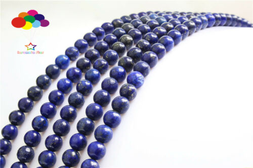 Diy 4//6//8//10//12mm Natural Stone Lapis Lazuli agate Round Beads fit bracelet