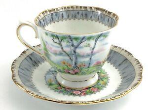 Vintage-Royal-Albert-Silver-Birch-Bone-China-Footed-Tea-Cup-Saucer-England-J557