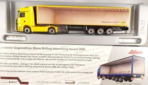 "1:87 h0-22698 Schuco MB actros remolcarse /""xemburgueses/"" Rhino Award rollad camión"
