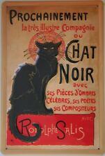 CHAT NOIR - FRENCH VINTAGE ADVERT Black Cat Embossed Metal Sign