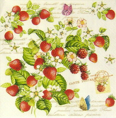 4x Paper Napkins for Decoupage Decopatch Vintage Strawberry