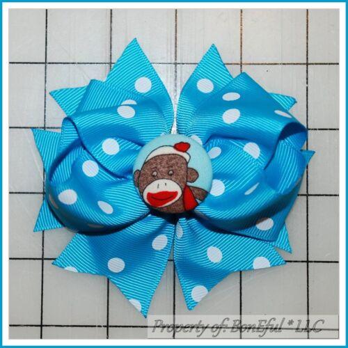 BonEful RTS NEW Girl Boutique Hair*Bow Ribbon Aqua White Dot Sock Monkey Fabric