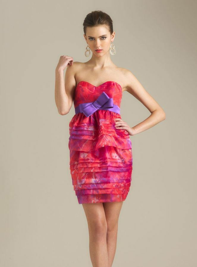 Adrianna Papell Print Purple Bow Party Dress Pink Sz 6  179 Nwt 081867840