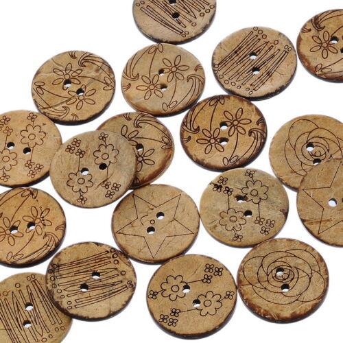 Großverkauf Mix Brown 2 Löcher Kokosnuss Knopf//Knöpfe 25mm D.
