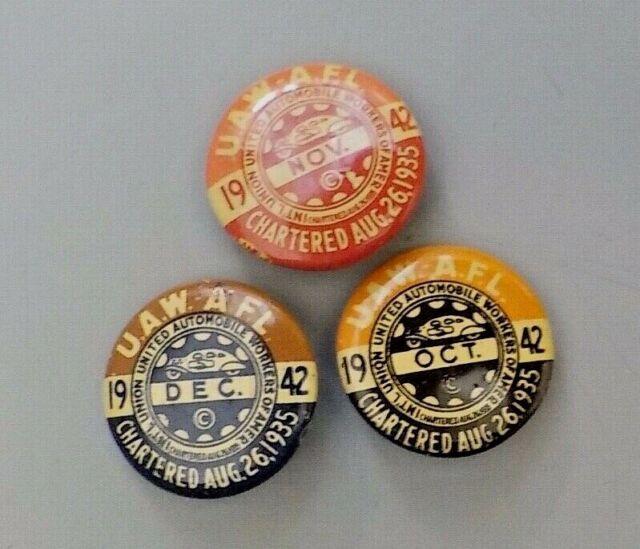 Three UAW-AFL Pins Dated 1945 | eBay