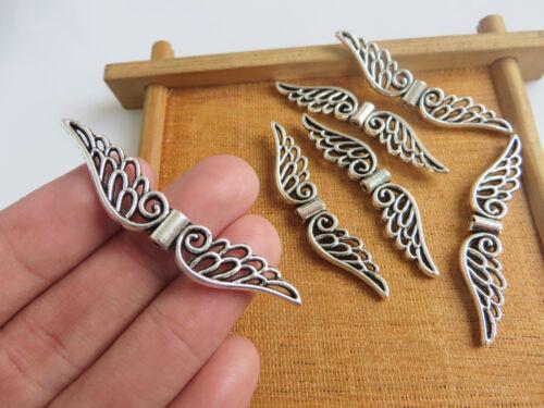10 grandes Hada Ala de ángel de plata tibetana espaciador encantos perlas resultados 52mm