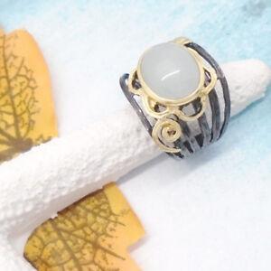 Aqua-Chalcedon-schwarz-gold-gothic-Design-Ring-18-0-mm-925-Sterling-Silber-neu