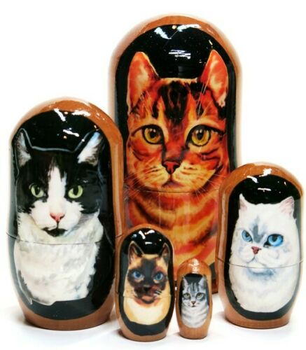 Whiskers 5-pc Cat Kitten Animal Pet Portrait Russian Nesting Doll 4 inches Toy