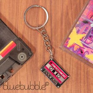 FUNKY TAPE KEYRING KITSCH 80s 90s RETRO COOL FUN NOVELTY DISCO DJ GIFT POP BAG