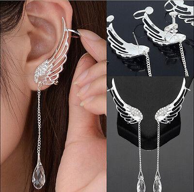 Lady Silver Angel Wing Stylist Crystal  Plated Earrings Drop Dangle Ear Stud Cuf