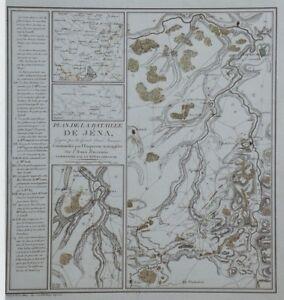 """""""PLAN DE LA BATAILLE DE JENA"""" Gravure originale entoilée Etienne HENRY 1807 IXERat4O-09091014-759003677"""