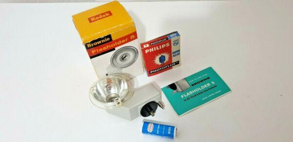 Belle Kodak Brownie Flasholder 5 Avec Ampoules Et Original Carré Batterie Nombreux Dans La VariéTé