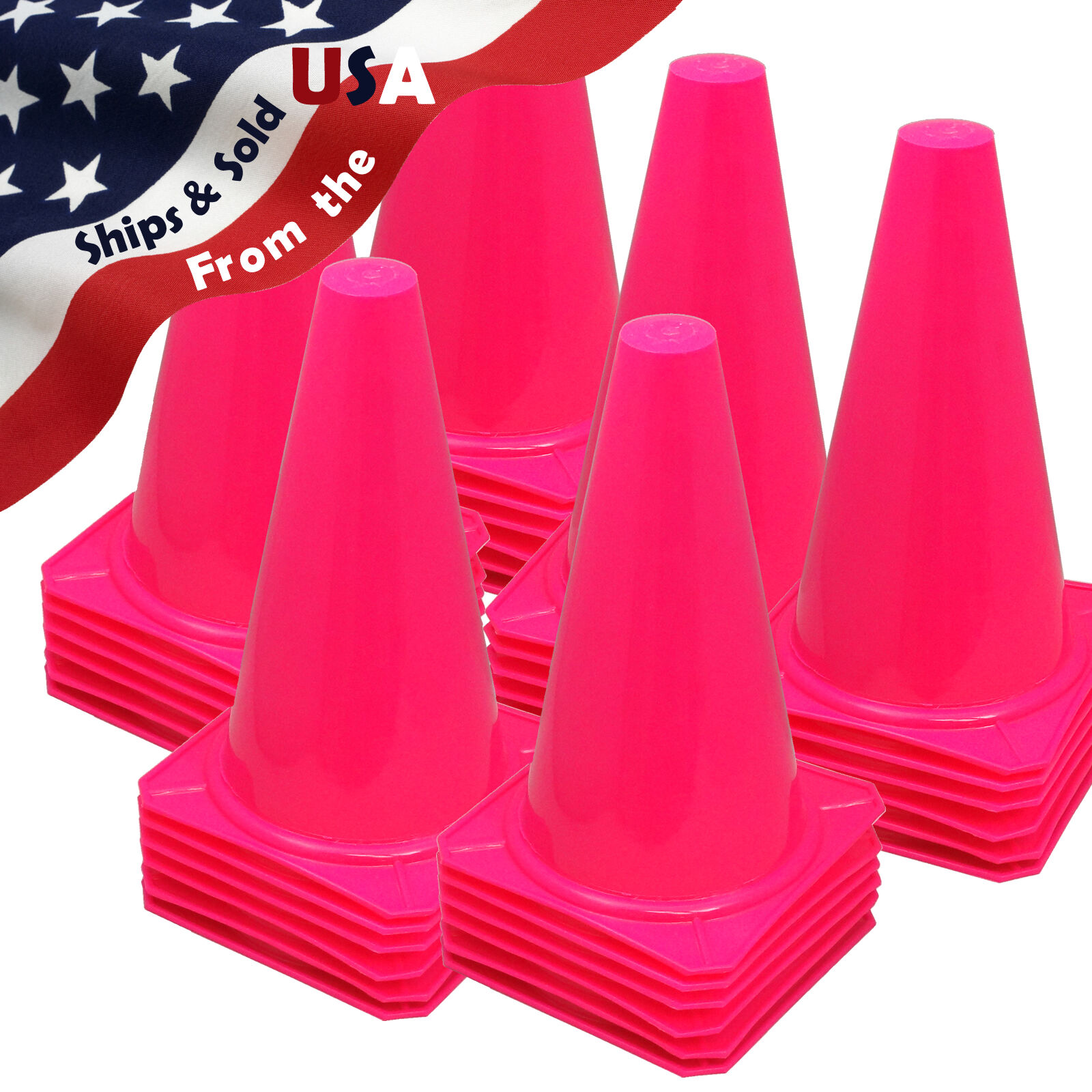NEW  9  Tall PINK CONES Sports Training Safety Cone Horse Training Qty 36