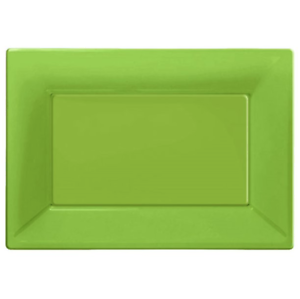 Lime Green Plastic Serving Platters Pack of 3 23cm x 32cm