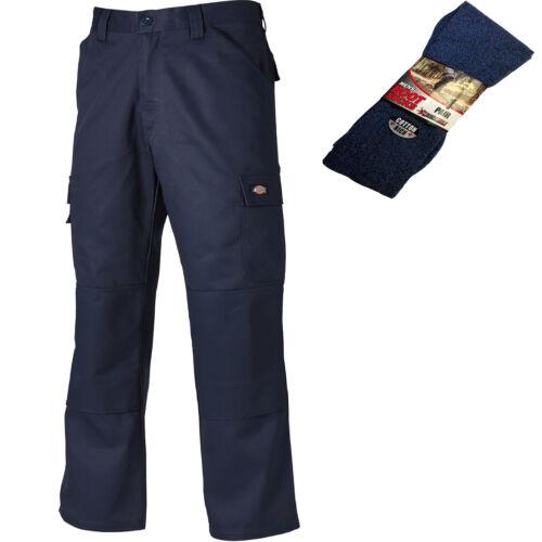 Dickies Pantalones de trabajo diario Azul Marino comercio resistente y 1 Par de Calcetines de arranque