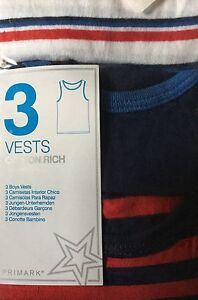 White and Blue Stripe Detail sizes 1.5 to 7 years Boys 3 pack Vests with Red
