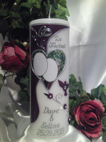 Hochzeitskerze mit Bild Foto 200//70mm Lila//Silber sehr Edel Top Neu 2013 H024