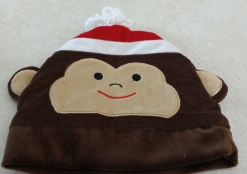 New! Monkey Hat 0 to 6 Months Santa Baby Christmas Velour