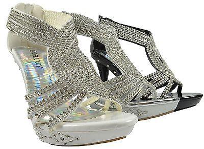 Women Sexy Strappy Prom Wedding Dress Sandal Heel Shoe Rhinestones Party Shoes