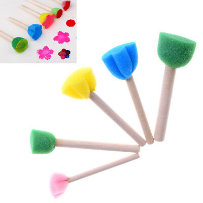 5Pcs//Set Children Diy Painting Sponge Brush Toys Wooden Handle Learning Tool TB
