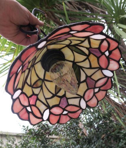 "Rose pink flowers Vintage Lamp slag glass tole chandelier 20/"" cord fixture"
