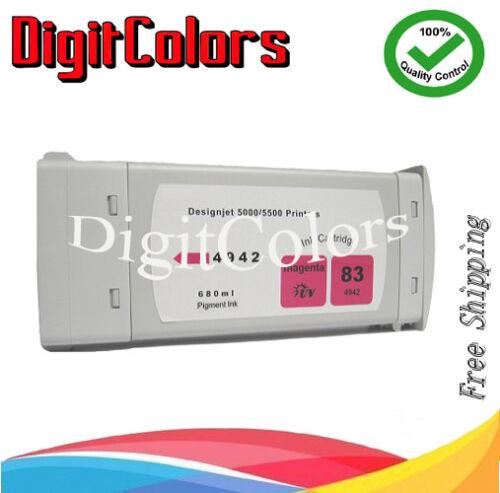 Cartridge fits HP Designjet 5000 5500 HP 83 pigment INK magenta m C4942A non oem