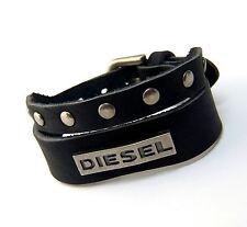 Urban Vintage style Genuine Black Leather Split Band DIESEL Bracelet