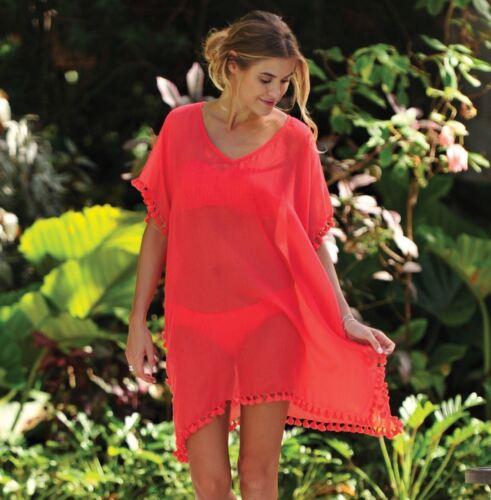 Women Tassel Beachwear Bikini Beach Cover Up Kaftan Summer Loose Top Dress