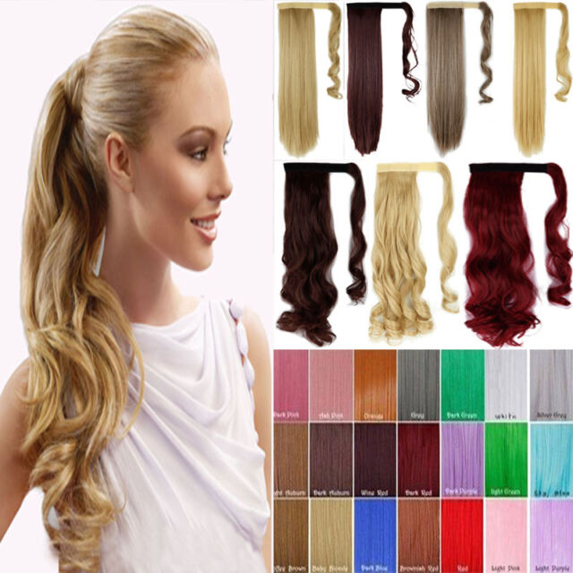 Deluxe Wrap Around Ponytail Hair Extensions Real As Human 10 Color Straight BP3