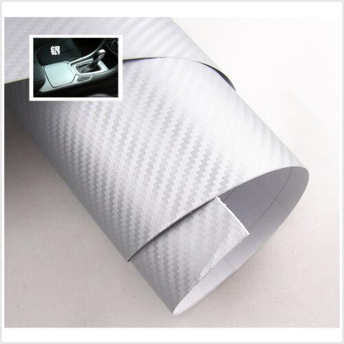 "15/""x 39/"" SILVER Carbon Fiber Vinyl Wrap 3D 4D Stickers Car Interior Accessorie"