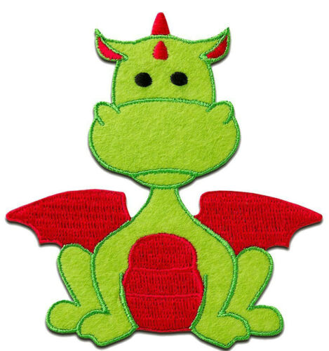 Dragon Animal Children Green /& Red Patch Badge Iron Or Sew On 9cm x 8.4cm