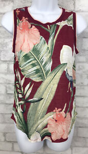 Ann-Taylor-Red-Multicolored-Tropical-Leaf-Print-100-Linen-Tank-Top-Size-Small