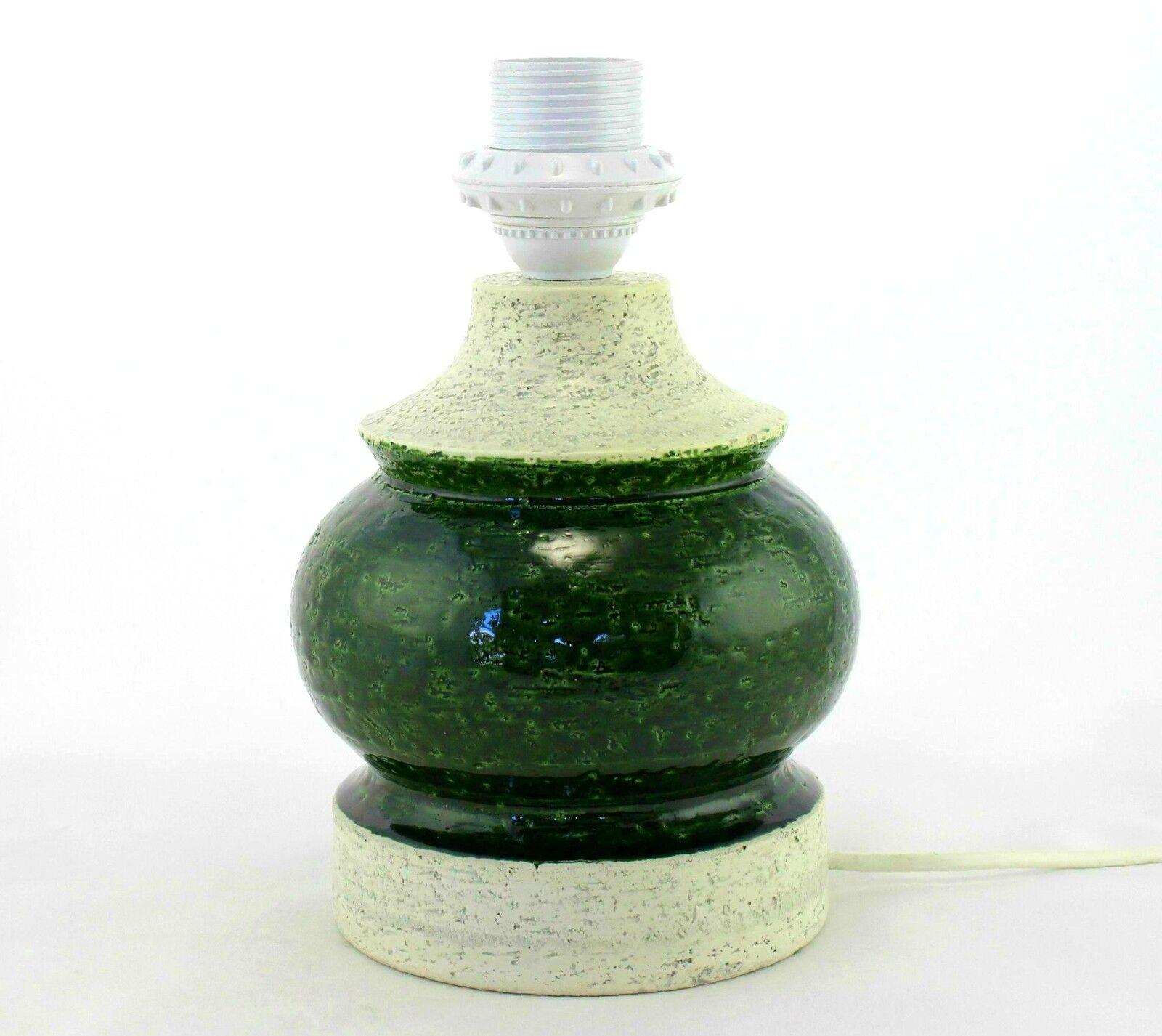 Eine Italienische Studio Topfwaren Lampe Grün und Weiß 1960's 70's