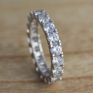 925-Sterling-Silver-Full-Eternity-Engagement-4mm-CZ-Band-Ring-Wedding-I-R-Sizes