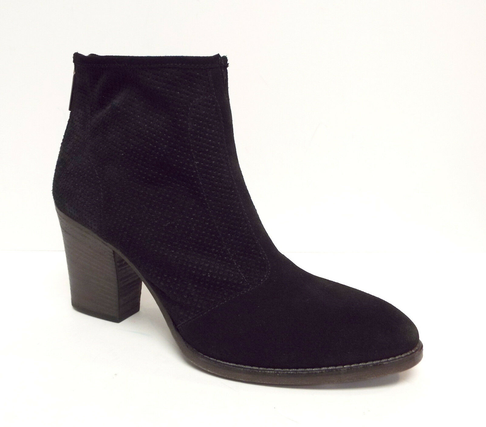 New AQUATALIA Size 10 FIA Black Perforated Suede Weatherproof Ankle Boots