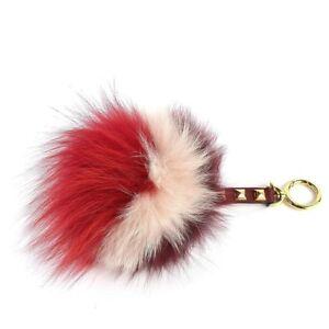 ccd521e54d Michael Kors Key Charms Lollipop Large Pom Fur Bag Charm Fob Mulberry  Crimson