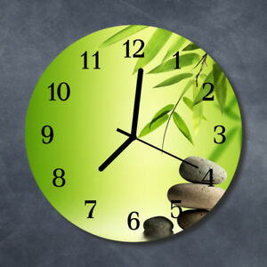 Echt-Glas-Uhr-Wanduhr-Rund-Kueche-30-cm-Deko-Steine-Bambus-gruen