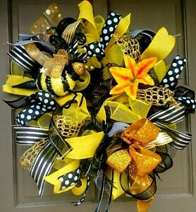 Handmade-Summer-Spring-Bumble-Bee-Wreath-Black-Yellow-Deco-Mesh-24-034-Door-Decor