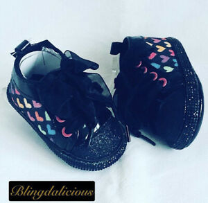 BABY GIRLS BLING AND GLITTER BLACK ON BLACK CUSTOMISED LAURA ASHLEY BOOTIES.