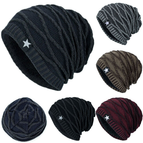 Mens Knitted Beanie Hat Ski Slouch Woolly Cap Winter Warmer Outdoor Sports Caps