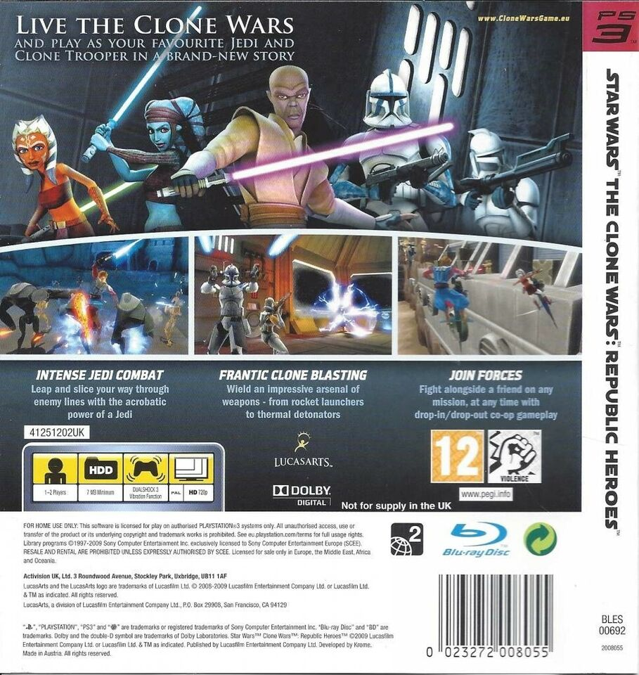 Star Wars: The Clone Wars -- Republic Heroes, PS3,