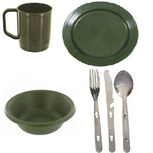 Highlander Mess Tin and Cutlery Cooking Set Camping Hiking Army Military